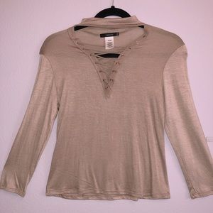 Strappy Mock-Neck Top, Beige/pink color.